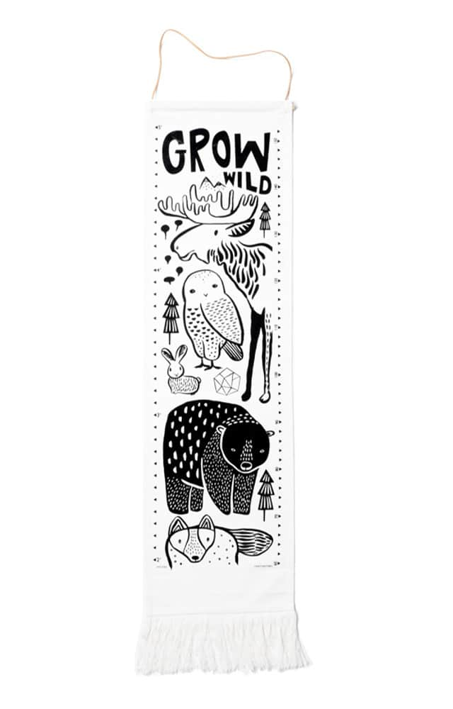 Black and white baby gifts: The adorable Wee Gallery growth charts come in 4 fab styles