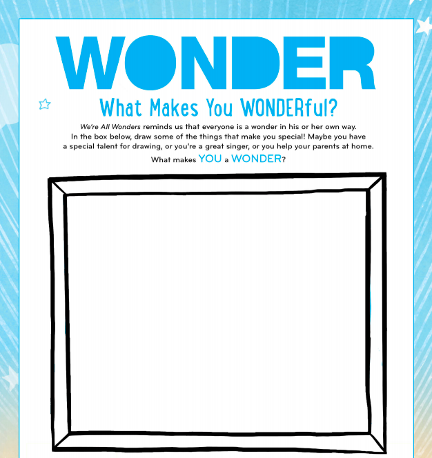 Download these free Wonder activity sheets and help kids choose kind