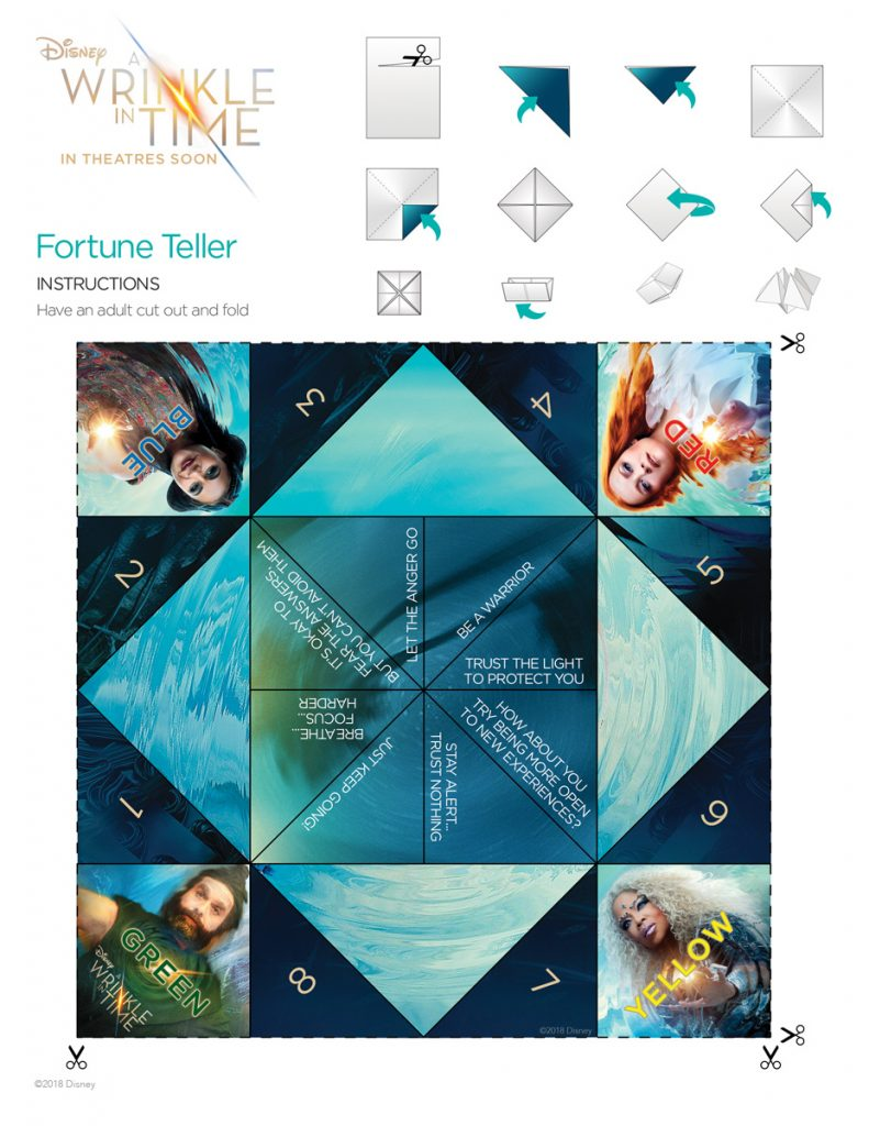 A Wrinkle in TIme: Free printable fortune teller PDF template for download | via CoolMomPicks.com