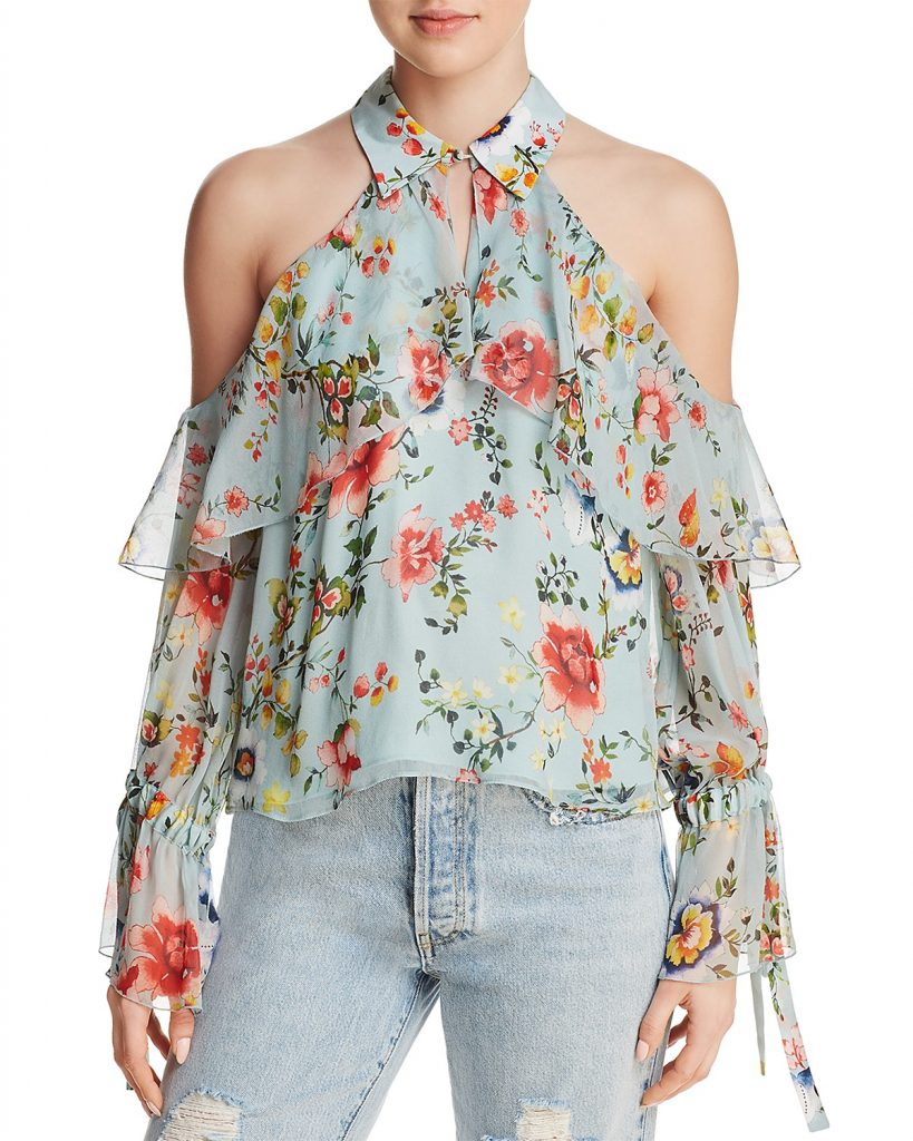 Floral print cold shoulder silk top: On trend for spring fashion, but would you wear it? | Cool Mom Picks