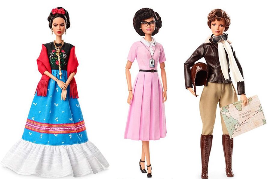 The Barbie Role Models collection features Inspiring Women including Frida Kahlo, Katherine Johnson, and Amelia Earhart.