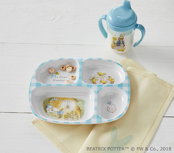 11 bunny gifts that make the perfect first easter gifts for babies first easter gifts for babies easter bunny beatrix potter feeding set pottery barn negle Images
