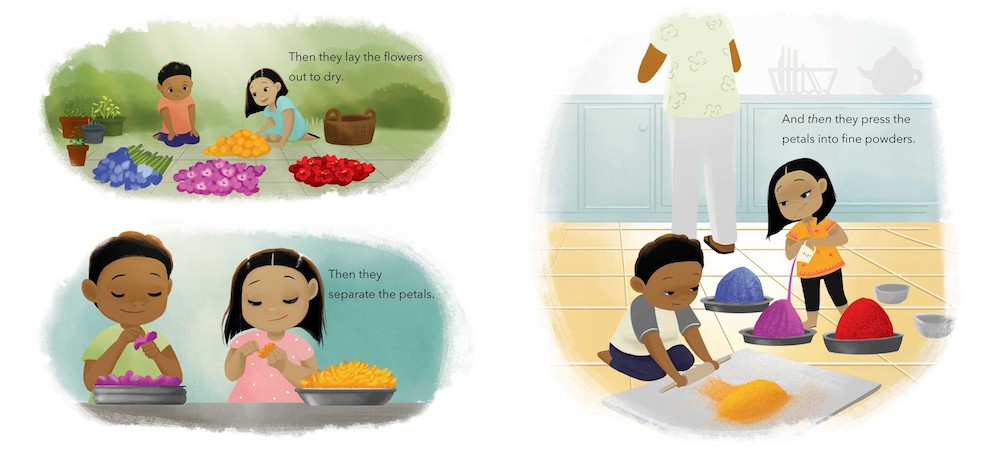 Book about Holi for kids: Dried flowers are pressed into powder in Festival of Countries by Kabir & Surishtha Sehgal and Vashti Harrison