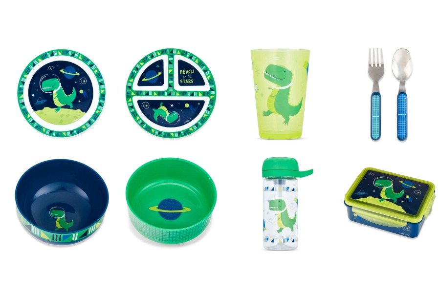 Cheeky Kids space dinosaur mealtime sets by Ayesha Curry: Each purchase feeds one hungry child
