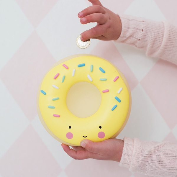 Donut coin bank from Little Lams: PIggy bank alternatives for kids