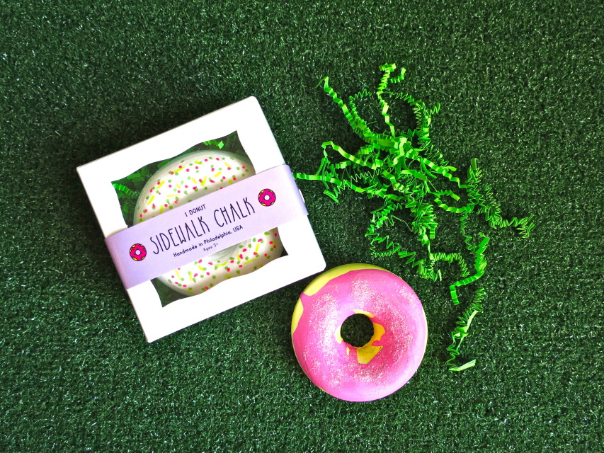 Donut shaped sidewalk chalk from Tweemade. Cute gift for kids!
