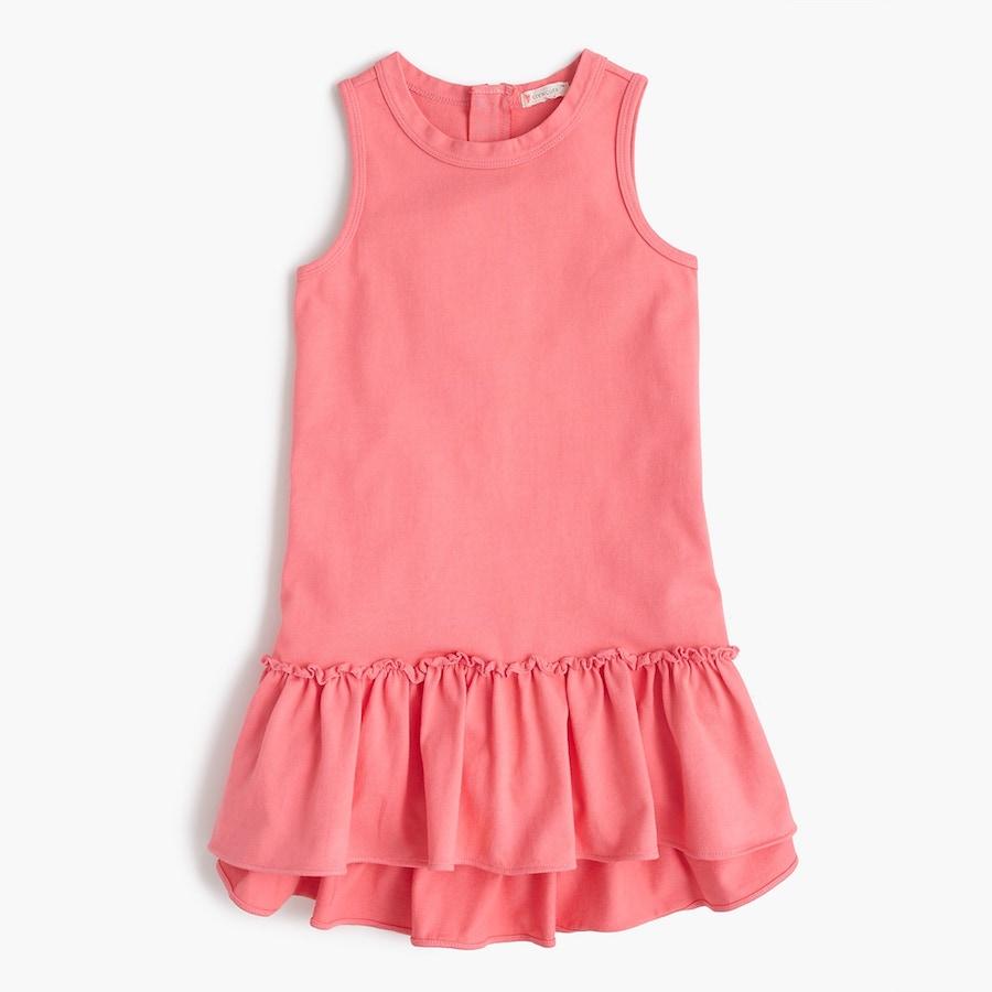 Versatile Spring dresses for kids: Coral ruffle-hem dress at J Crew