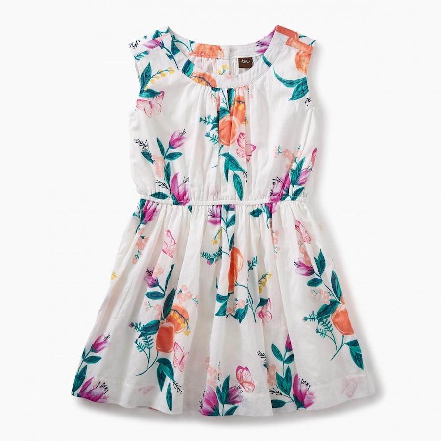 Versatile Spring dresses for kids: Peach floral dress at Tea Collection