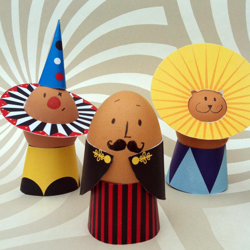 Easter egg printables: Circus egg printables by Sew Yeah