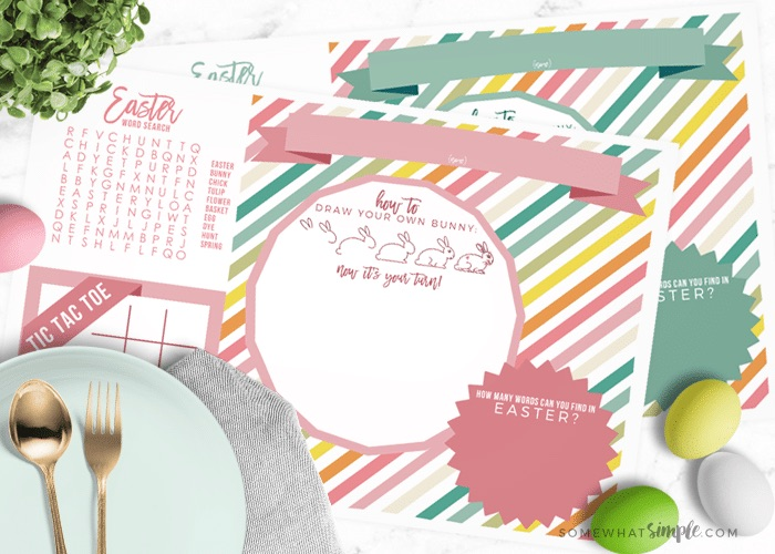 Free Easter printables: Kids' activity placemat by Somewhat Simple