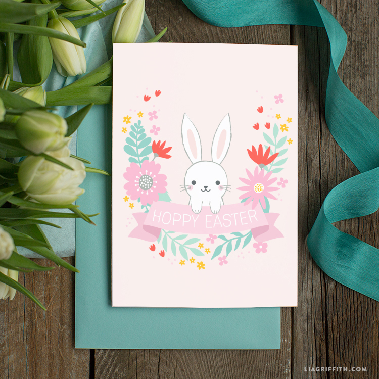 Free Easter printables: Hoppy Easter card by Lia Griffith