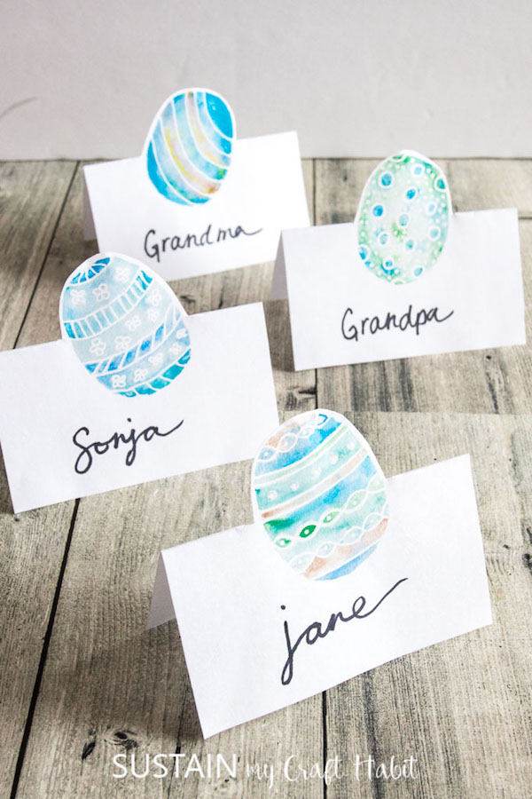 Free Easter printables: Painted name card printables by Sustain My Craft Habit