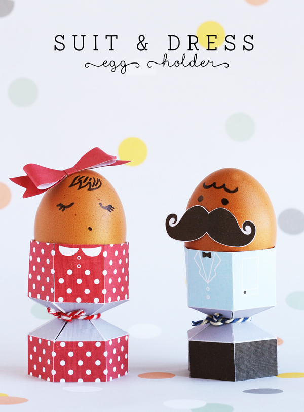 Free Easter printables: Suit and Dress Egg Holder Printables by A Subtle Revelry