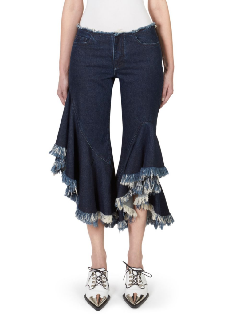 Marques'Almeida cropped and frayed denim jeans