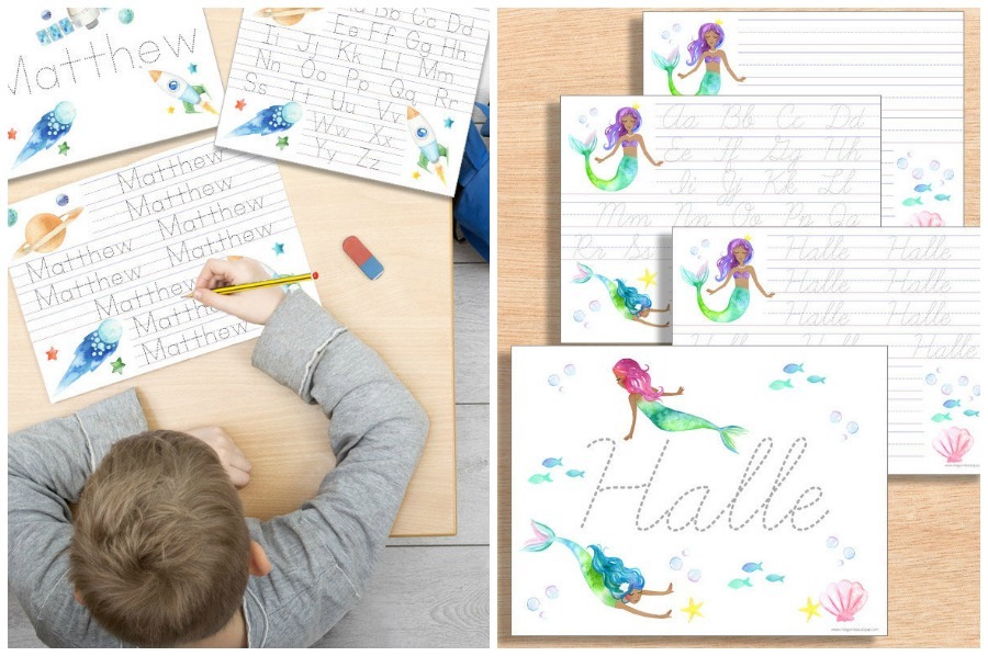 Handwriting help for kids: Custom name worksheets from Indigo Ink Boutique