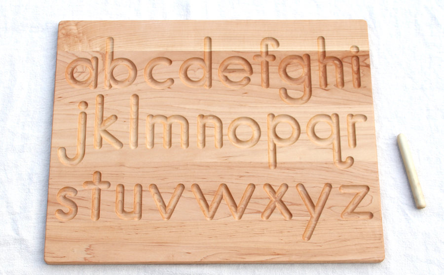 Handwriting help for kids: Wooden letter boards by From Jennifer