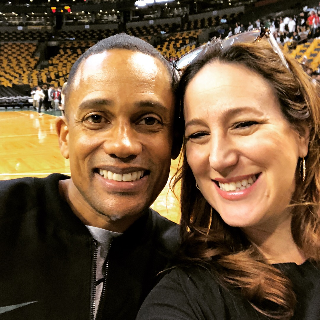 Hill Harper with Liz Gumbinner at the MassMutual FutureSmart event at Boston Garden, 2018 | sponsor