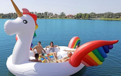 You obviously need a boat-sized rainbow unicorn pool float this summer. And now, they're back in stock!