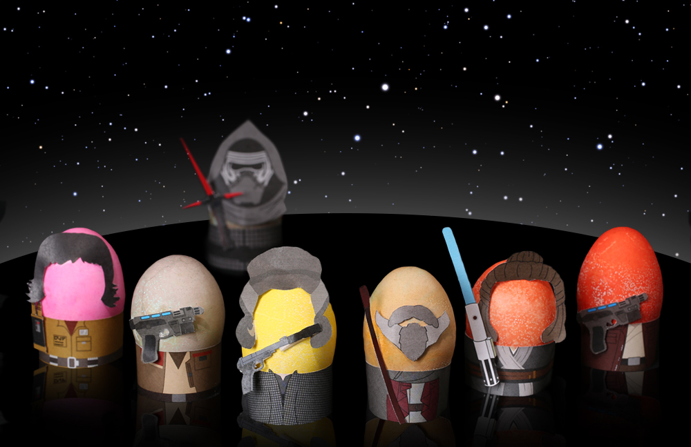 Star Wars Easter eggs printables from Fun. com including Rose Tico, Leia, Rey, and the whole Last Jedi crew...including Kylo Ren! | Cool Easter egg printables