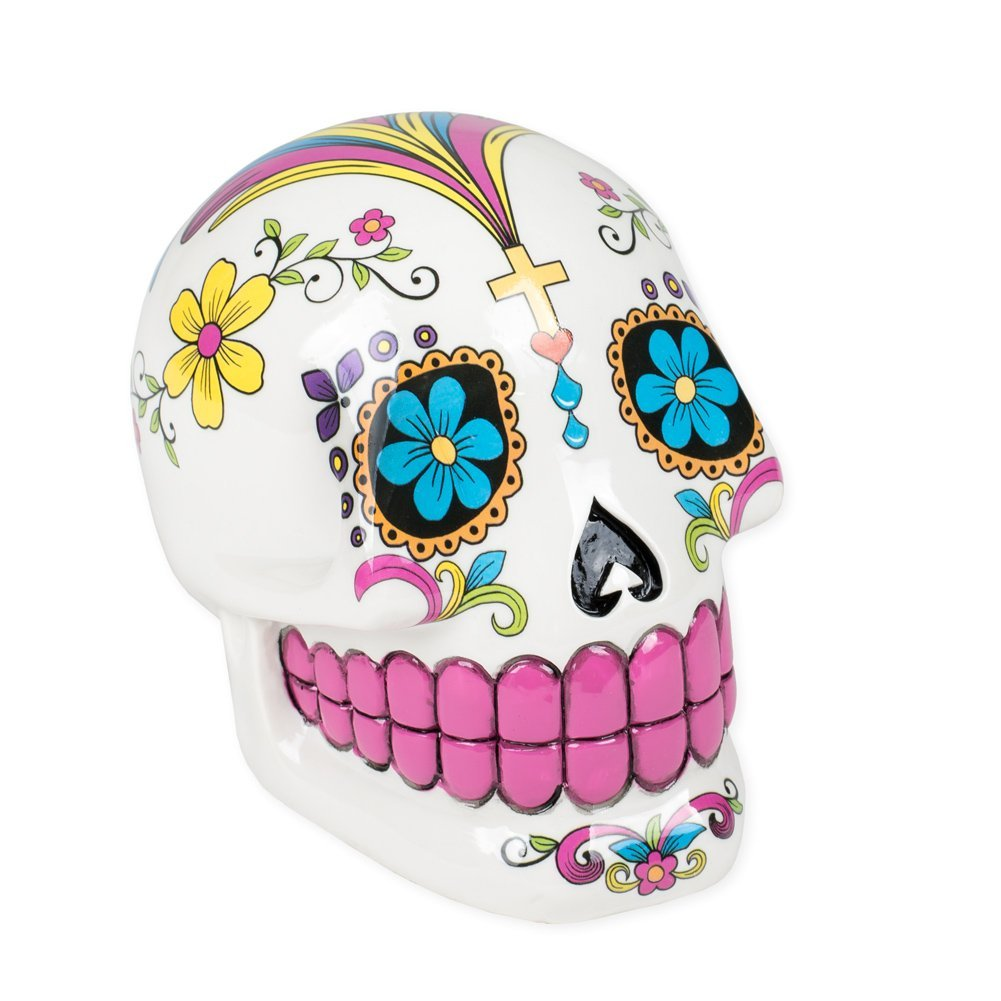 Piggy bank alternatives for kids: Sugar skull coin bank