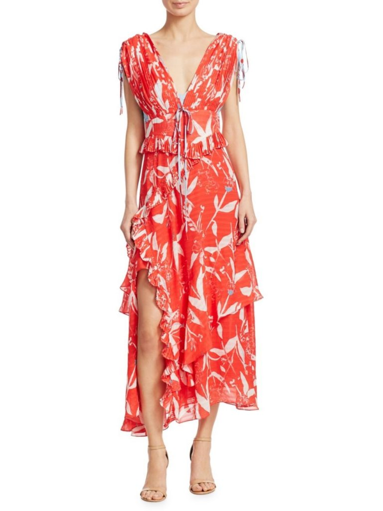 Spring trends: Giant floral and tropical prints, as in this Tanya Taylor Maxi Dress