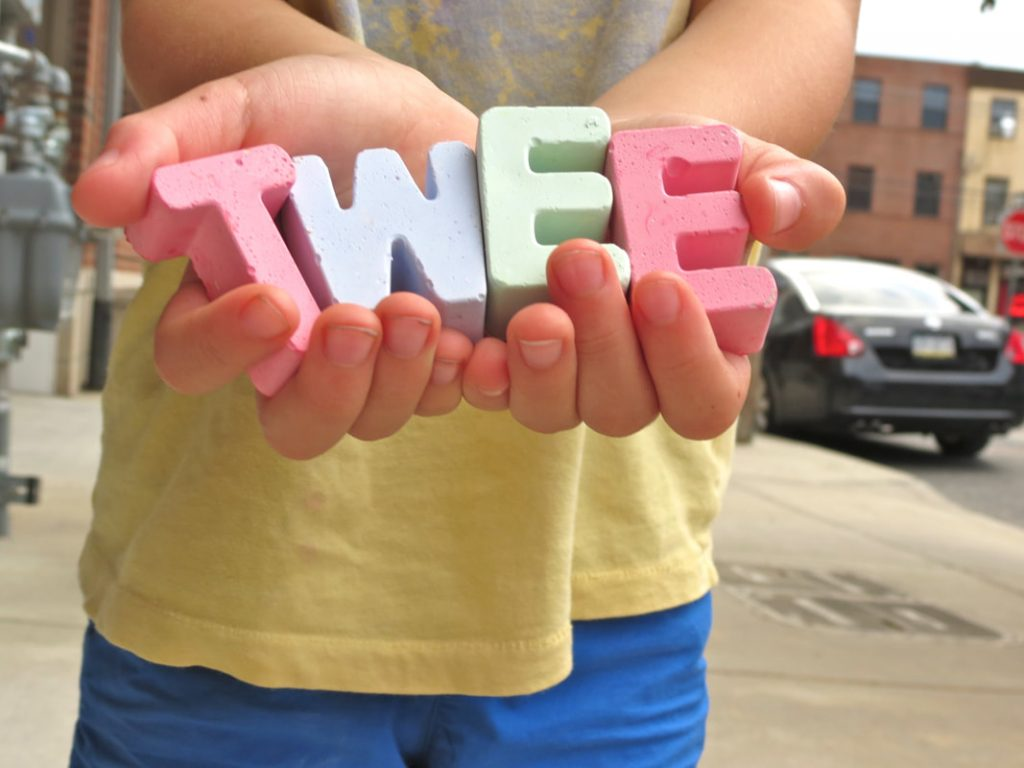 Tweemade sidewalk chalk  shaped like letters of the alphabet