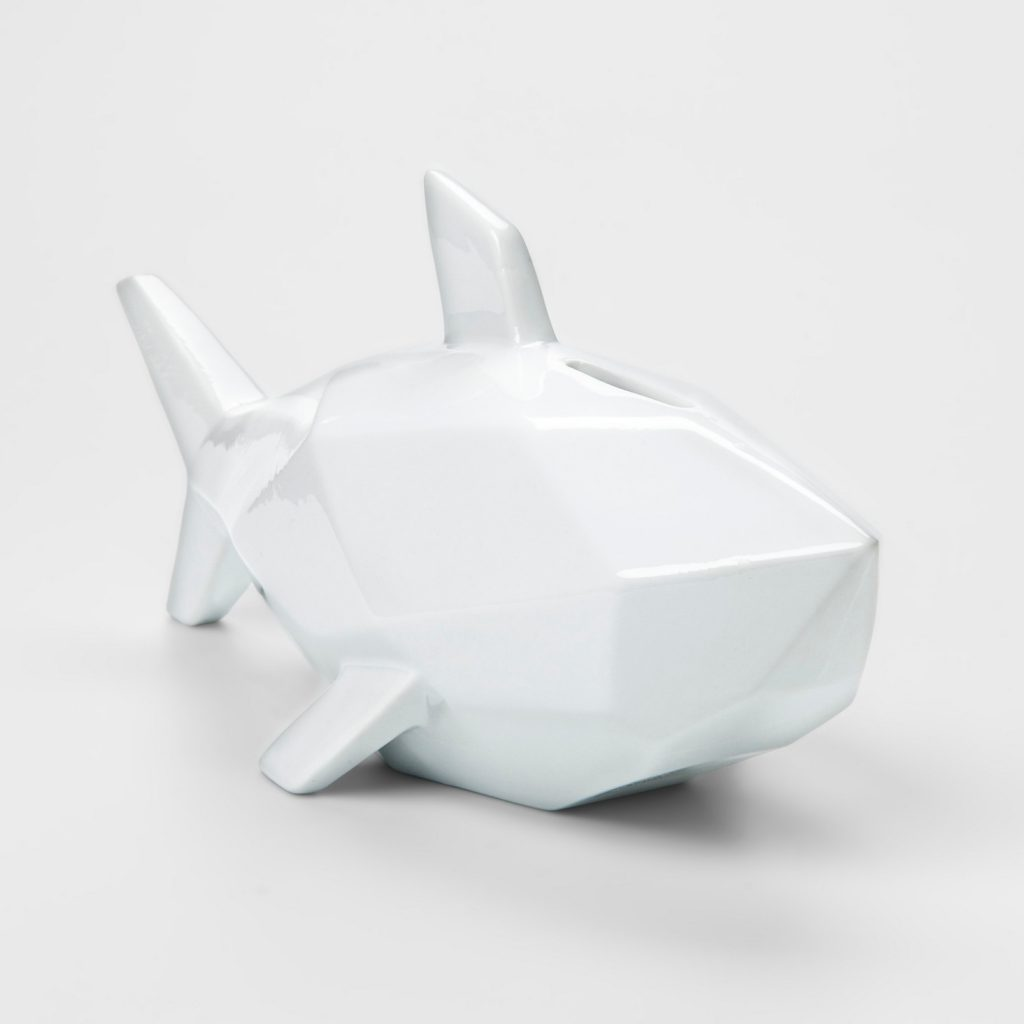 White shark coin bank: Piggy bank alternatives for kids