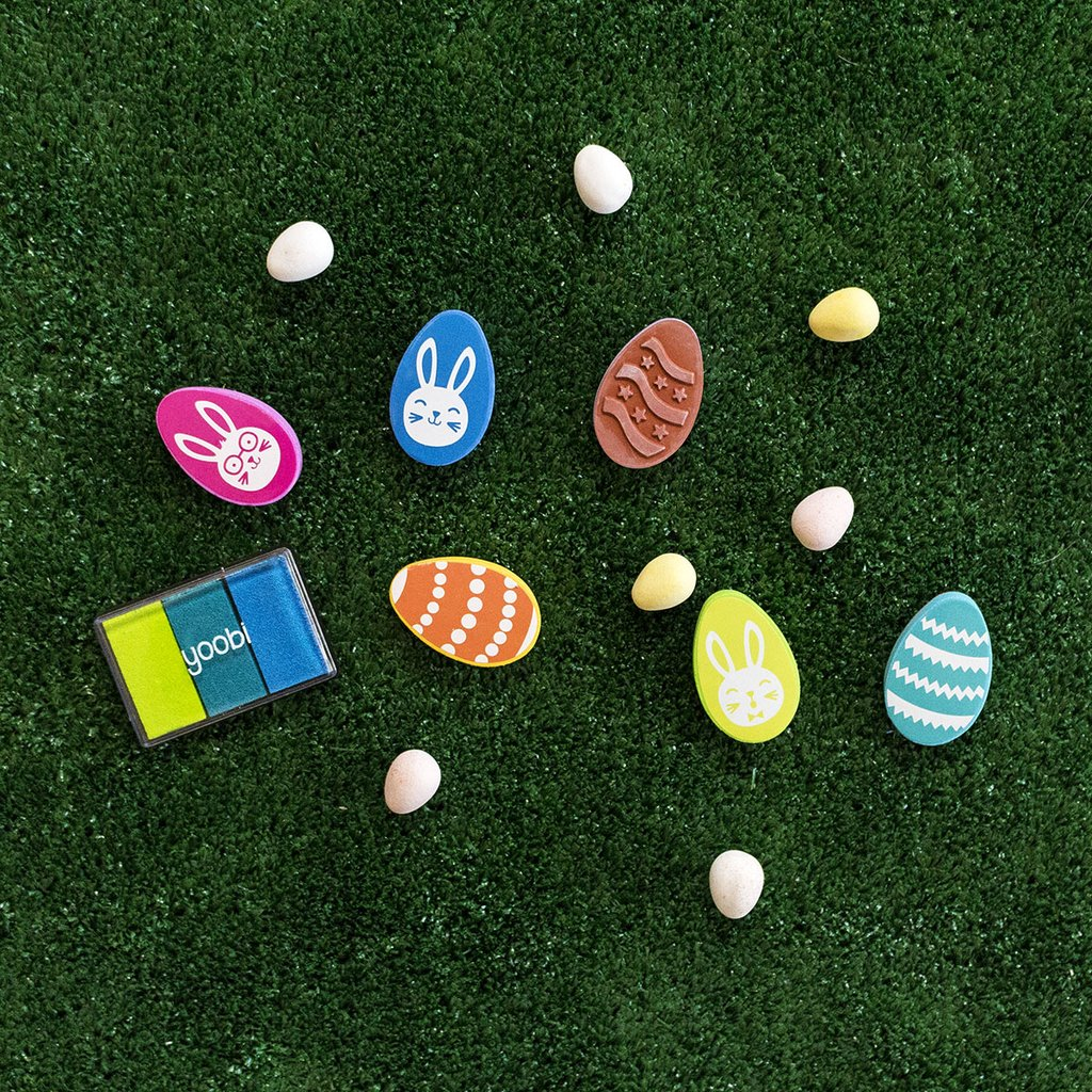 Non-candy Easter basket ideas: Yoobi egg stamp six-pack for Easter