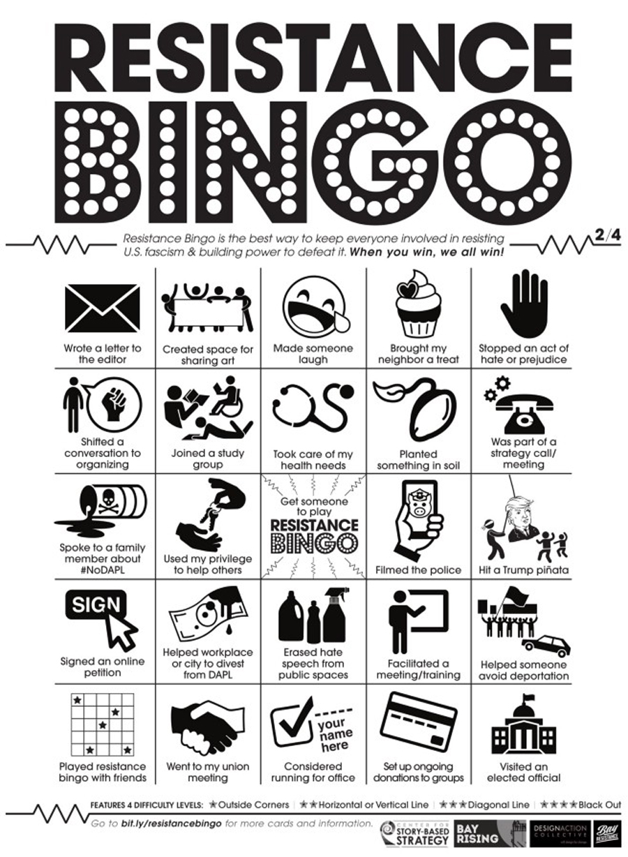 Resistance Bingo is all about making the world a better place in fun and serious ways
