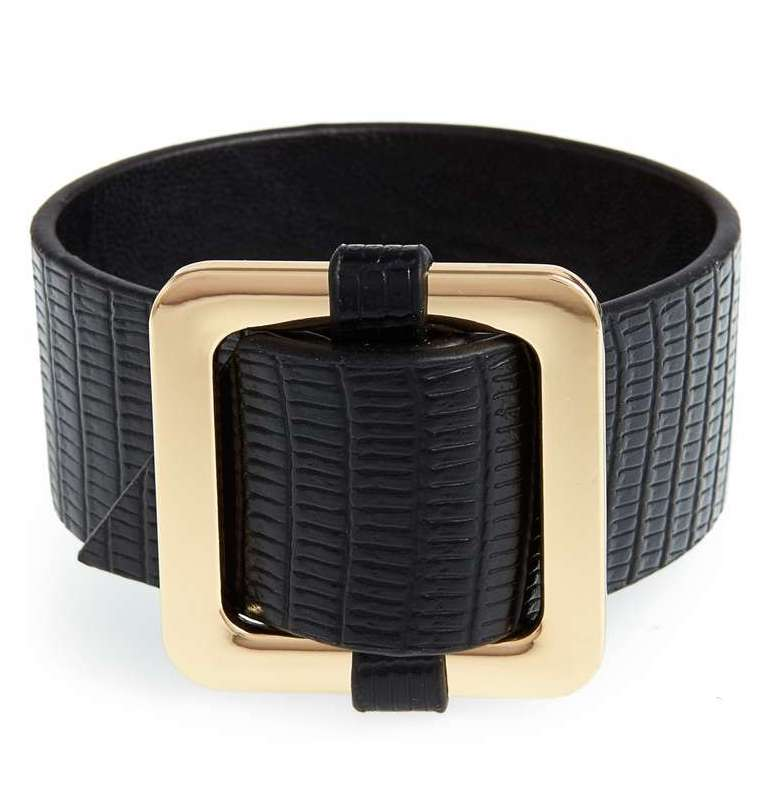 Chunky black faux leather buckle bangle at Nordstrom   Cool affordable Mother's Day gifts under $15