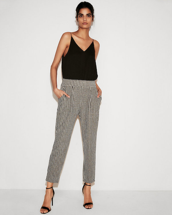 Comfortable work pants: Mid-Rise Gingham Pull-on Ankle Pant by Express