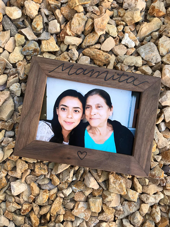 Customizable handmade walnut frame from The Figs Creations   Cool affordable Mother's Day gifts under $15