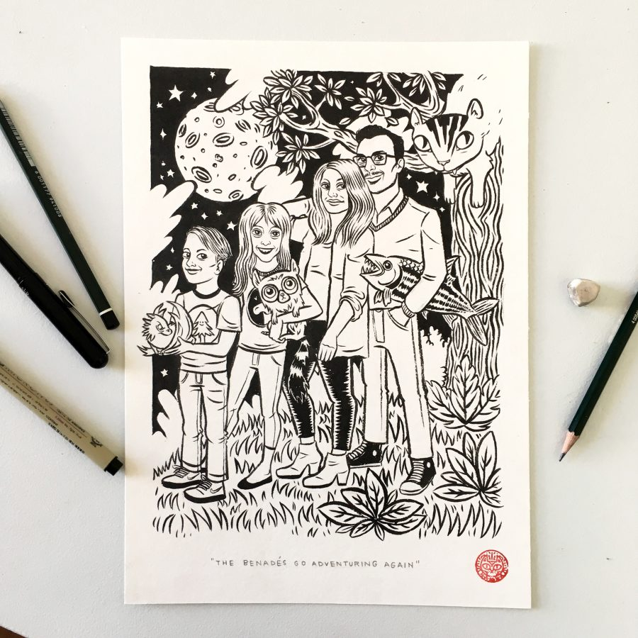 Customized family portraits: Black and white or color, hand-drawn cartoons by Nanna Verner.
