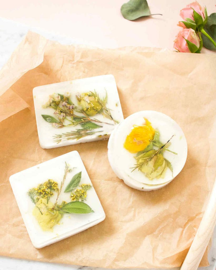 DIY pressed flower soap tutorial from Martha Stewart | Cool affordable Mother's Day gifts under $15