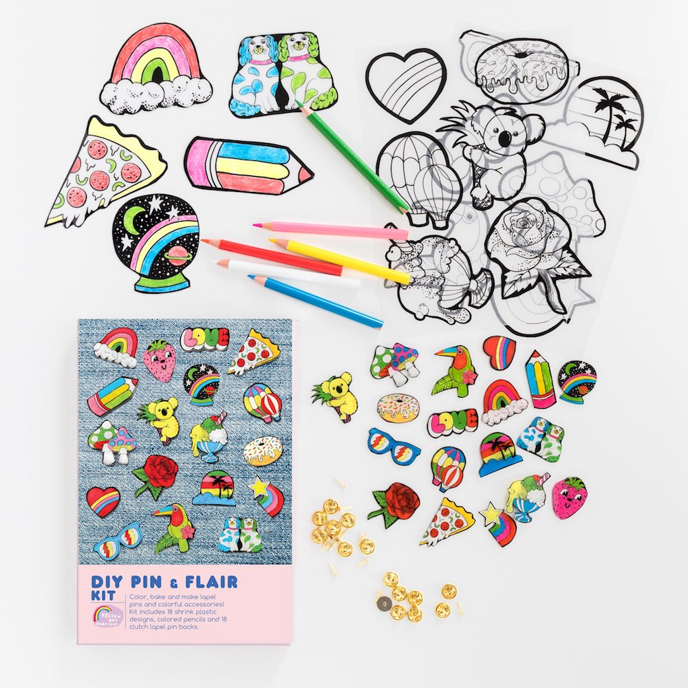 DIY pin and flair kit from Yellow Owl Workshop is a fantastic gift for crafty kids for under $15!