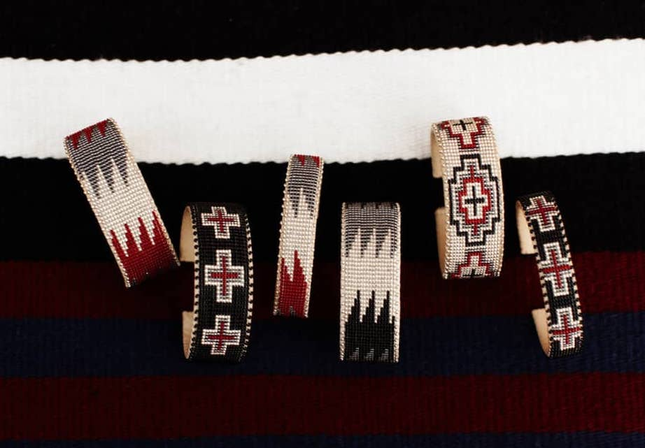 Etkie red collection authentic Navajo glass beaded cuffs | Mother's Day gifts that give back
