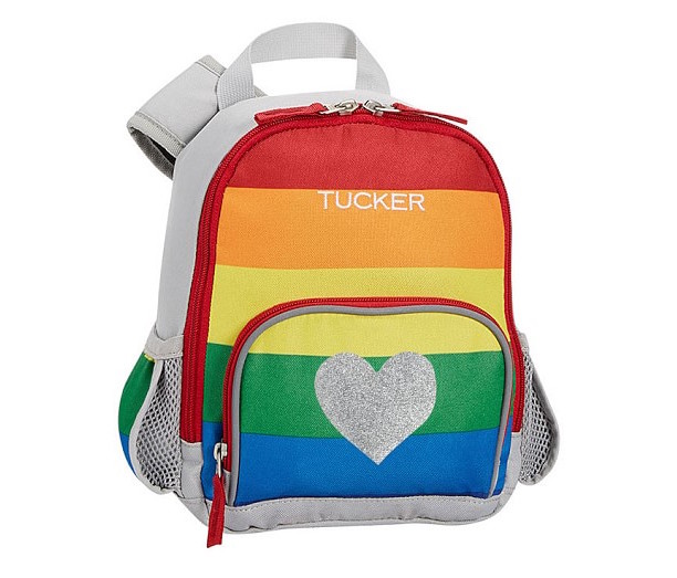 Kids' rainbow clothing and accessories: Bright Rainbow Stripe Backpack by Pottery Barn Kids