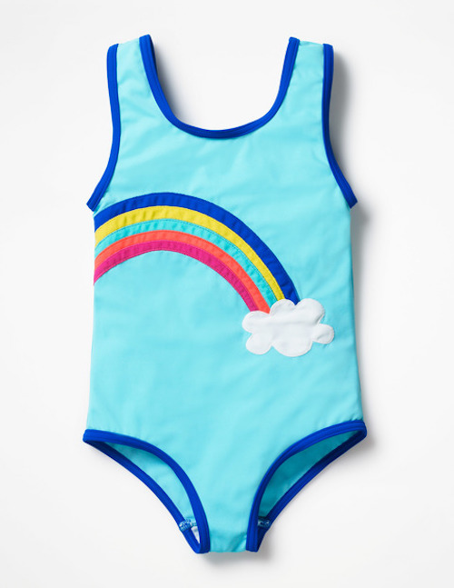 Kids' rainbow clothing: Fun Detail Swimsuit by Boden