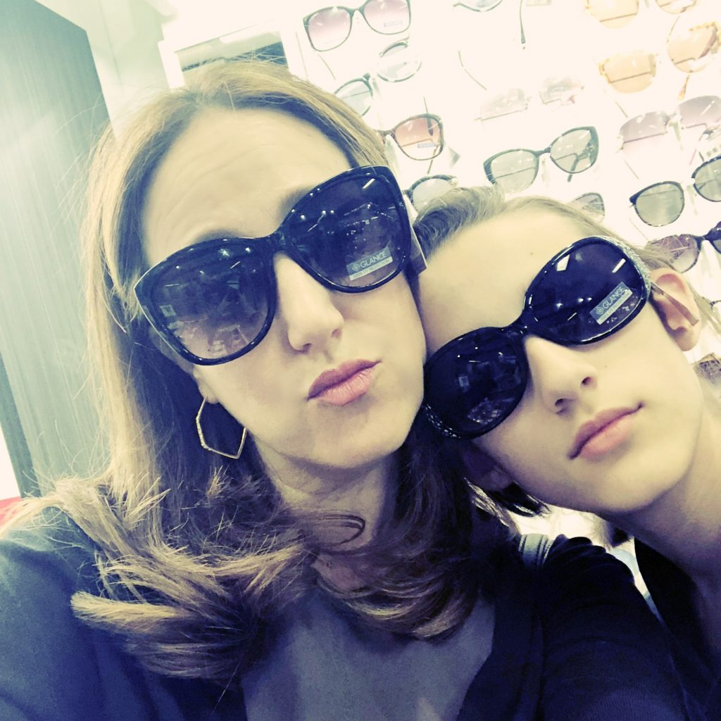 Trying on sunglasses at JCPenney while shopping for Mother's Day gifts | Cool Mom Picks (sponsor)