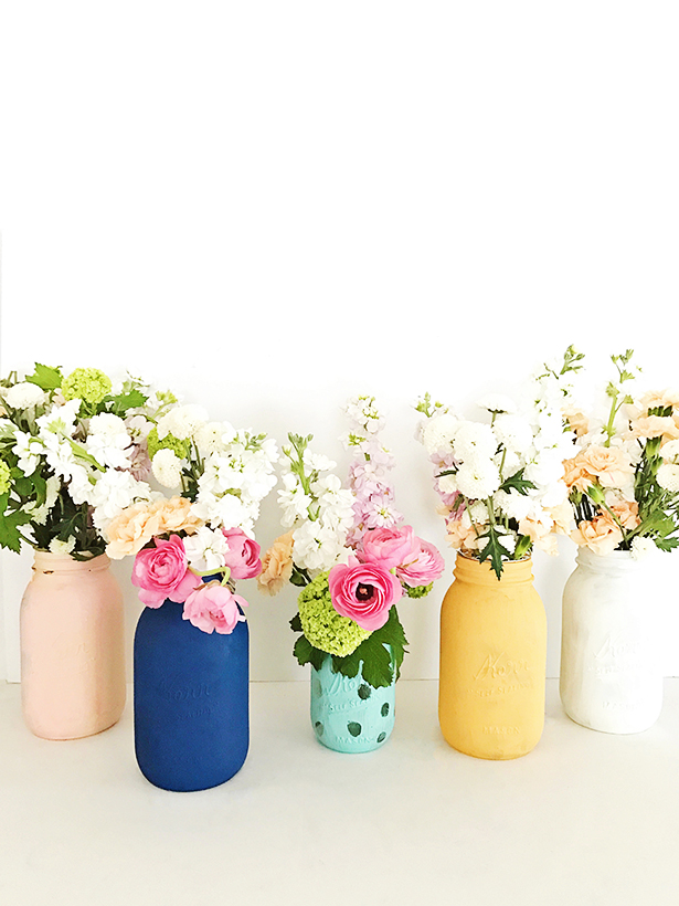 DIY for painted mason jar bouquets from Hello Wonderful   Cool affordable Mother's Day gifts under $15