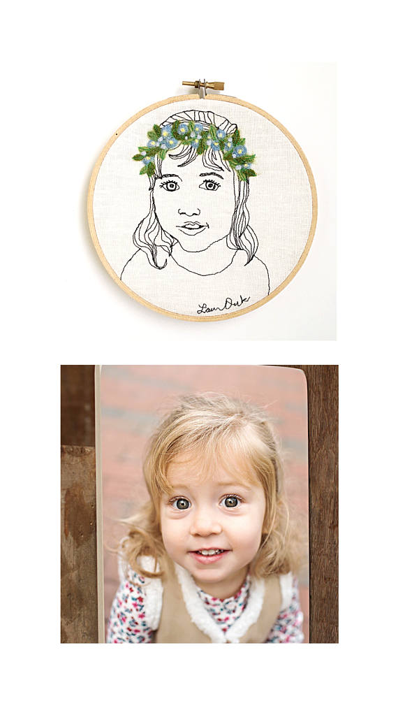 Personalized Mother's Day gifts: Personalized Embroidery Hoop Portrait | Trendy Puku