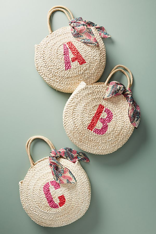 Personalized Mother's Day gifts: Monogramed Straw Tote | Anthropologie