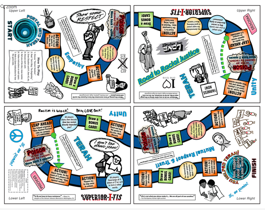 The Road to Racial Justice board game is meant for classrooms, but is a great learning tool at home, too
