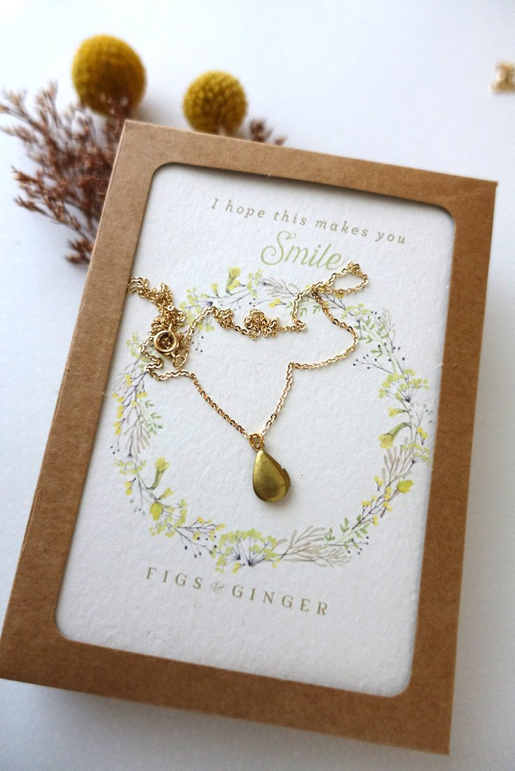 Amazing Mother's Day gift ideas for stepmothers and mothers-in-law: Teardrop locket from Figs & Ginger