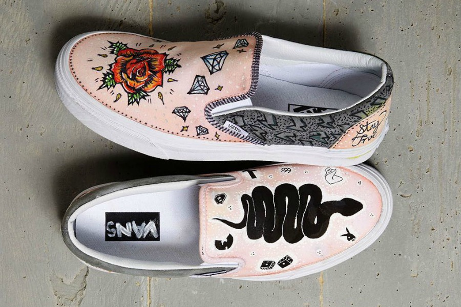 Whoa. These celebrity-designed Vans for Custom Culture offer crafting inspiration galore.