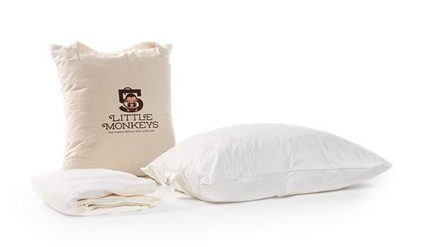 5 Little Monkeys kids' organic mattress-in-a-box comes with a pillow and mattress cover, too!