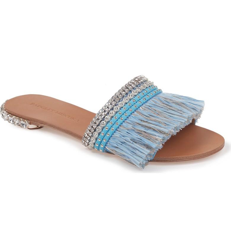 Embellished slide sandals for summer | Badgley Mischka sldies