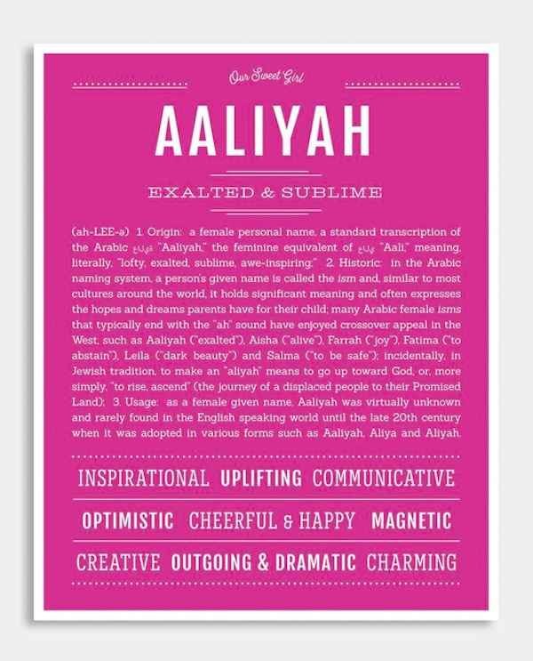 Custom name meaning posters from Name Stories: Aaliyah meaning