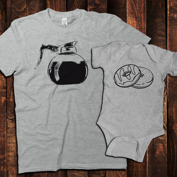 Daddy and me tees: Daddy and me donuts and coffee tees | Pink Robot Shirts