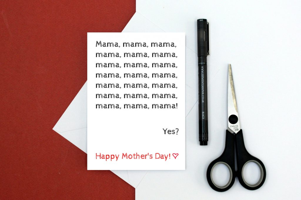 Funny Mother's Day card from a toddler by Mugheads